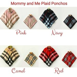 Sweaters - Mommy and Me Matching Plaid Ponchos - 4 Colors